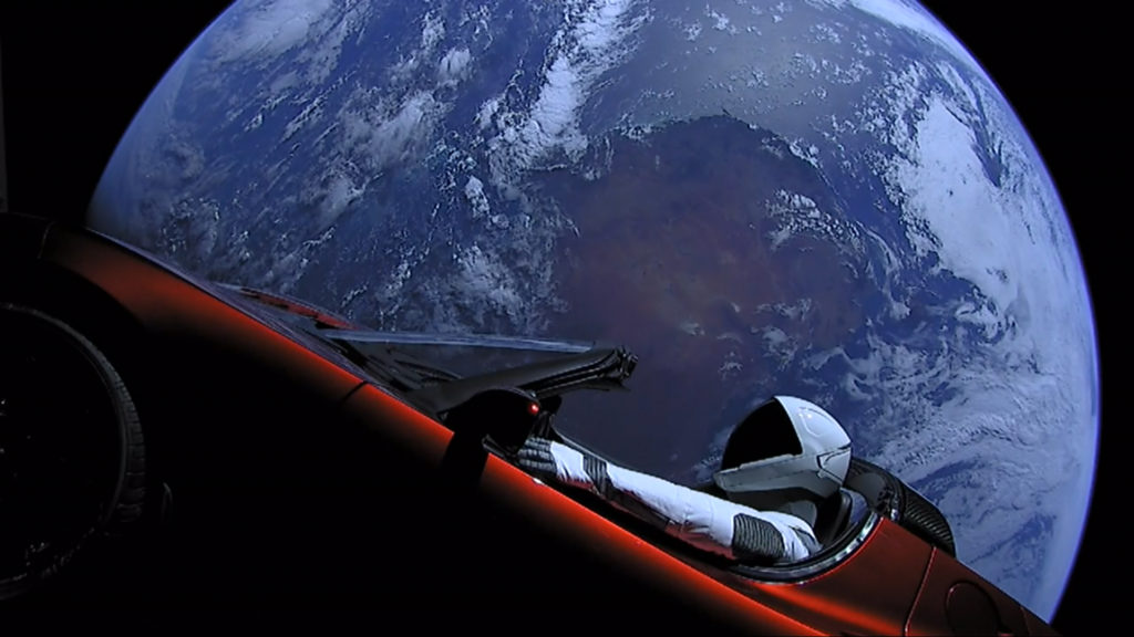 SpaceX Starman goes for a ride on Tesla Roadster