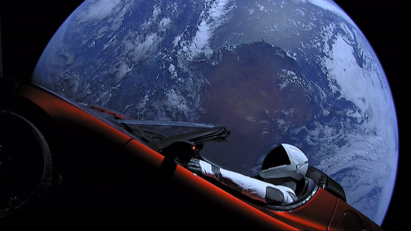 Starman goes for a ride on Tesla Roadster