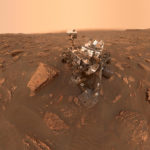 Mars Curiosity Rover on Martian Terrain