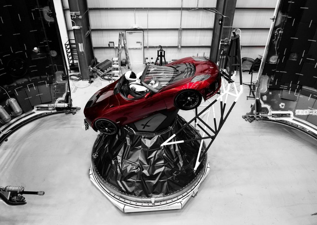 Starman sits at the wheel of a Tesla Roadster