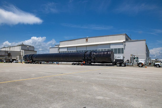 Falcon 9 first stage boosters arrived at Cape Canaveral Air force station.