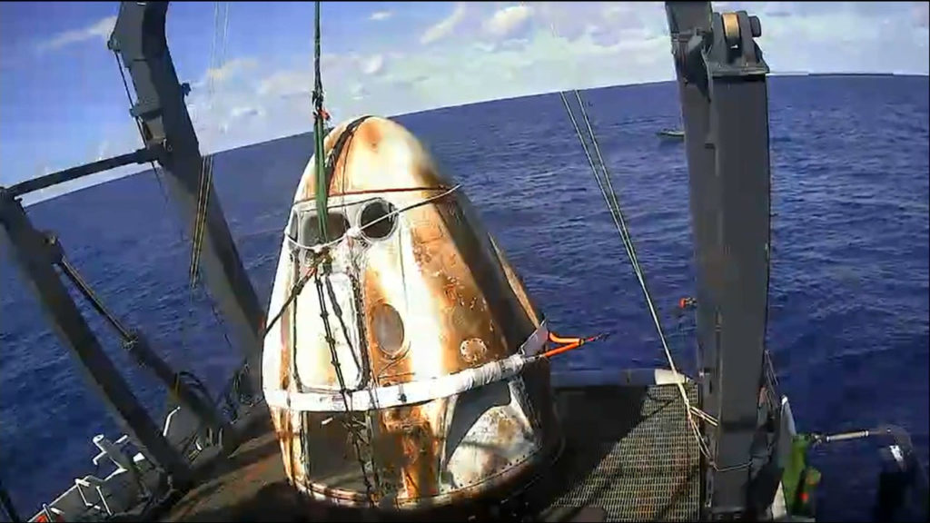Crew Dragon Demo-1 recovered after splashdown