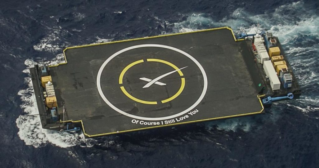 "SpaceX's drone ship ""Of Course I Still Love You."""