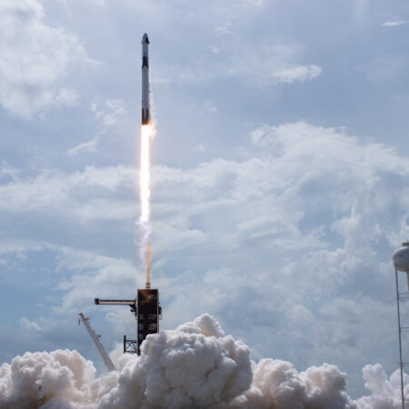 SpaceX falcon 9 carrying NASA astronauts on Crew Dragon for first crew test mission