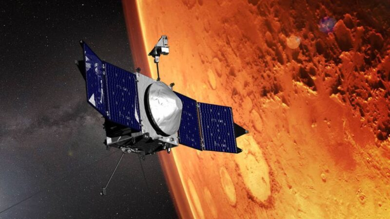 Artist's concept of the NASA MAVEN spacecraft orbiting Mars.