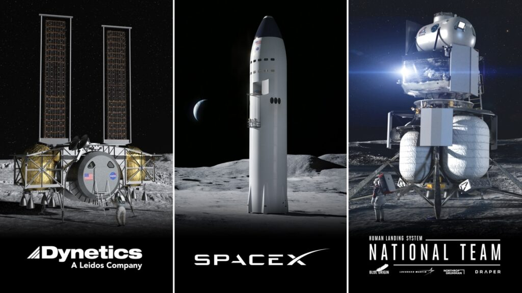 NASA Selects Blue Origin, Dynetics, and SpaceX Human Landers for Artemis