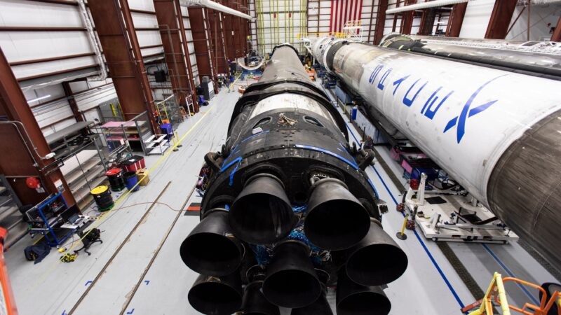 SpaceX's Falcon 9 rocket in a hangar at Cape Canaveral.