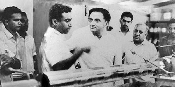 Dr. Sarabhai and Dr. Kalam. A photograph from the early stages of the Indian space programme.